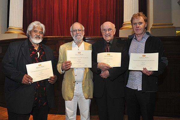 Ashton Wylie book award winners Wiremu Nia Nia, David Epston, Sir Lloyd Geering, Allister Bush (Credit: Ashton Wylie Charitable Trust)