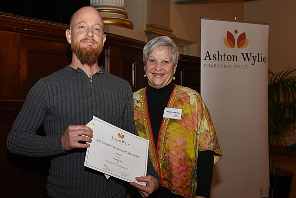 Manuscript winner Jeremy Cole with judge Lindsey Dawson